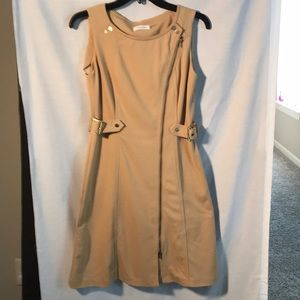 Calvin Klein tan colored midi length dress size 6